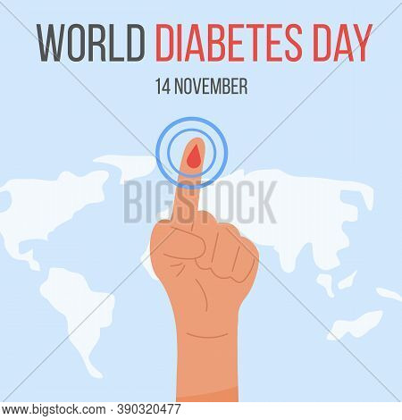 Banner Design With Blue Ribbon And Arm With A Finger With Blood Drop Measuring Glucose. World Diabet