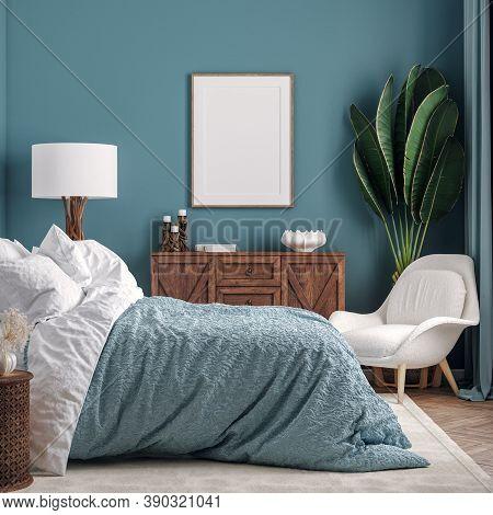 Mockup Frame In Dark Green Bedroom Interior Background, 3d Illustration