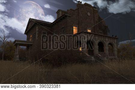 Abandoned Haunted House Refuge Of Spirits Moonlit Night 3d Illustration