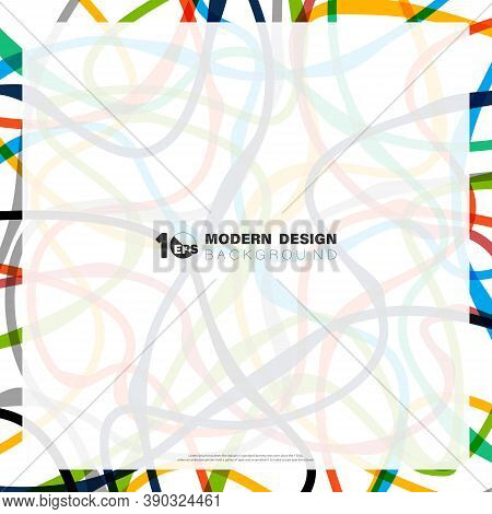 Abstract Colorful Line Pattern Design Of Minimal Design Artwork Pattern Template Background. Decorat