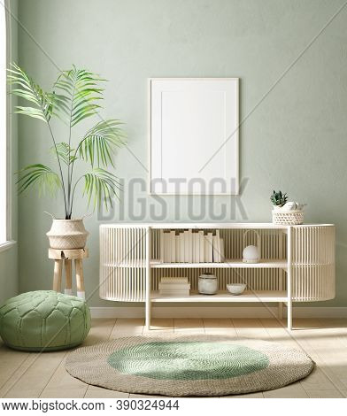 Mock Up Frame In Home Interior Background, Pastel Green Room With Natural Wooden Furniture, 3d Illus