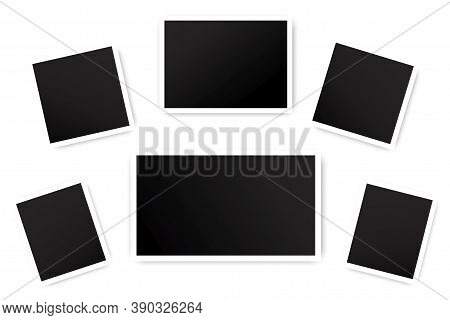 Old Photo Frames. Vector Template Of Vintage Shots. Empty Black Squares. Stock Image.