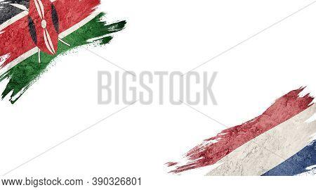 Flags Of Kenya And Nederland On White Background