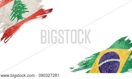 Flags Of Lebanon And Brasil On White Background