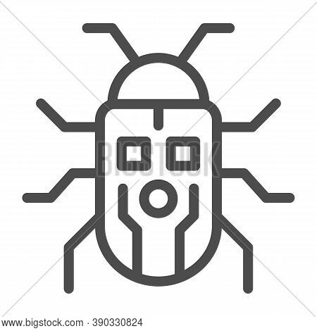 Robot Beetle Line Icon, Robotization Concept, Robot Bug Sign On White Background, Robotic Beetle Ico