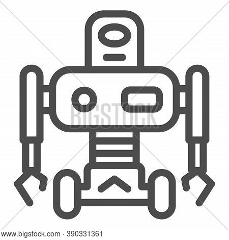Robot On Wheels Line Icon, Robotization Concept, Robotic Humanoid Sign On White Background, Electron