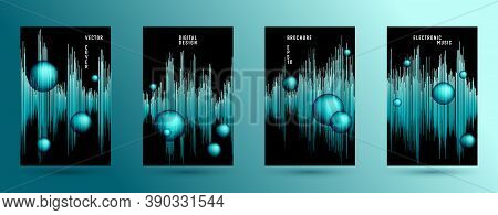 Music Covers Set With Sound Wave Background.  Abstract Soundwave Amplitude.  Distorted Sound Wave Eq