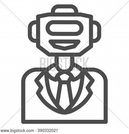 Robot In Suit Line Icon, Robotization Concept, Bot Personal Business Helper Sign On White Background