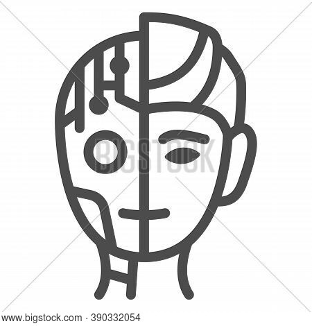 Robot Man Line Icon, Robotization Concept, Neuro Interface Sign On White Background, Digital Bionic