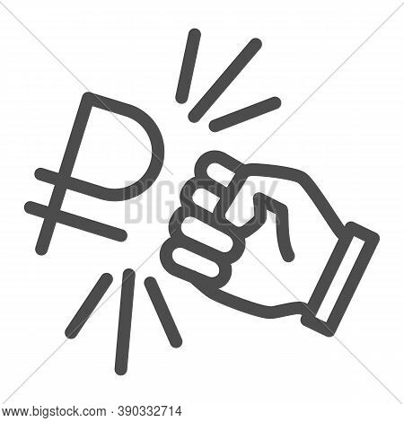 Fist And Ruble Currency Line Icon, Economic Sanctions Concept, Hit Ruble With Arm Sign On White Back
