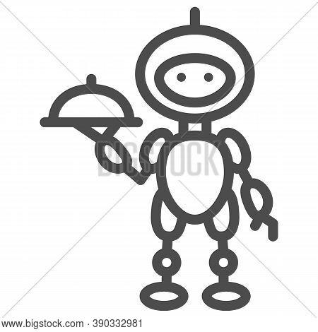 Robot Waiter Line Icon, Robotization Concept, Future Restaurant Service Sign On White Background, Wa