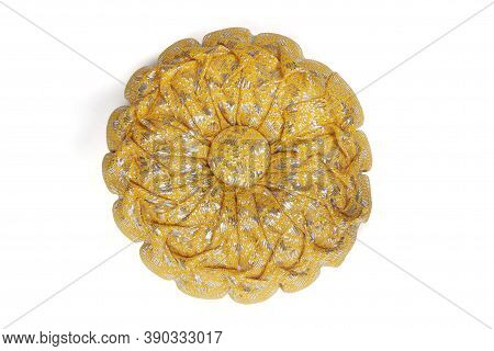 Top View Of Handmade Gift Pumpkin Pillow For Auspicious Ceremony Isolated On White Background Includ