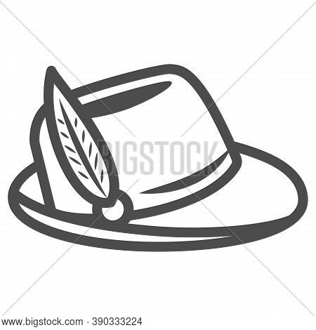 Hat With Feather Line Icon, Oktoberfest Concept, Oktoberfest Hat Sign On White Background, German Hu
