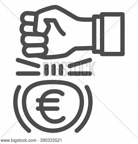Fist And Euro Currency Line Icon, Economic Sanctions Concept, Hit Euro With Arm Sign On White Backgr