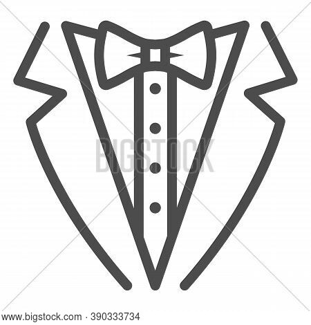Tuxedo Line Icon, Sea Cruise Concept, Gentleman Formal Dinner Jacket Sign On White Background, Tuxed