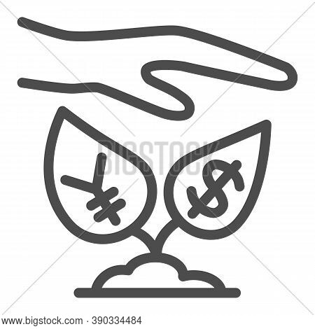Yen And Dollar Growth Control Line Icon, Economic Sanctions Concept, Protective Hand With Currency P