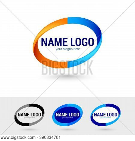 Oval Graphic Logos Templates. Simple Color Element Illustration From Geometric Figure Concept. Oval