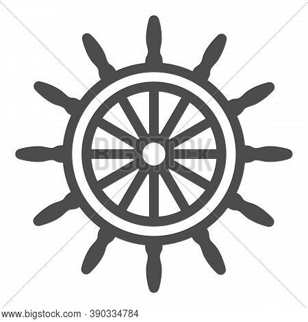 Ship Steering Wheel Line Icon, Sea Cruise Concept, Marine Wooden Wheel Sign On White Background, Rud