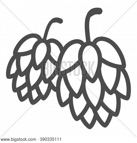 Hops Line Icon, Oktoberfest Concept, Hop Beer Sign On White Background, Hop Cones Icon In Outline St