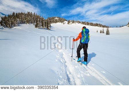 Sporty Backpacker Woman On Fresh Powder Snow, Ski Touring On The Deep Snow. Backcountry Skier With C