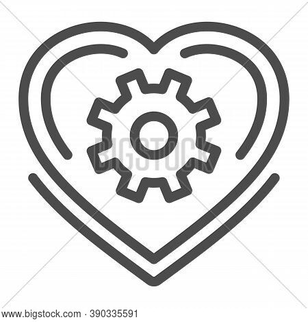 Mechanical Heart Line Icon, Robotization Concept, Love Mechanism Sign On White Background, Heart Wit
