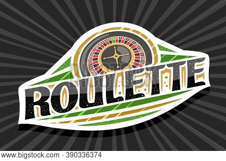 Vector Logo For Roulette, White Modern Badge With Illustration Of Top View Roulette Wheel, Unique Le