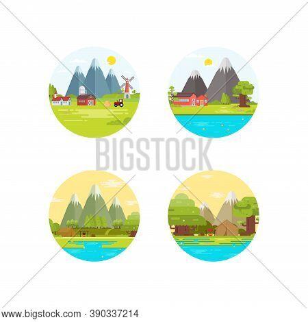 Camping And Rustic Illustration Logo Design. Summer Camping Logo Set