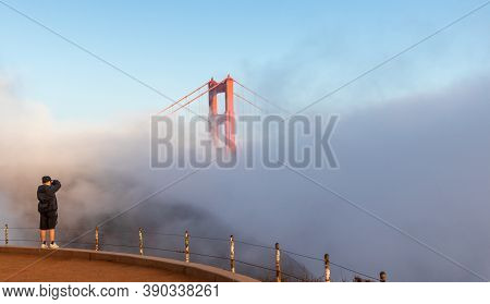 San Francisco, California - October 4, 2020: Very Foggy Afternoon At Battery Spencer, A Fort Bakers