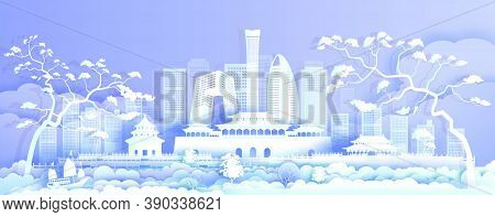 Travel Asia Landmarks Cityscape Of Beijing On Purple Background With Sailing Boat, Tour China With P