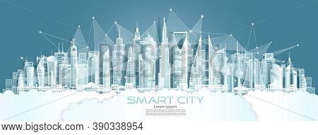 Technology Wireless Network Communication Smart City With Architecture In Middle East Of Asia Downto