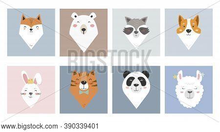 Cute Cartoon Animal Portraits For Baby Clothes Or Cards - Fox, Bear, Racoon, Corgi Dog, Girl Bunny,