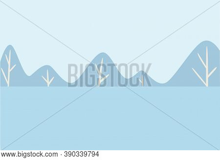 Winter Landscape, Snowy Forest Or Woods, Cold Season