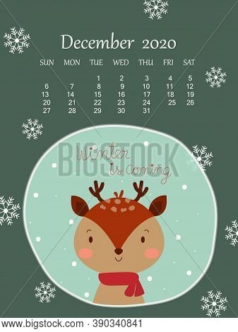 Winter Green Background With Cute Reindeer And 2020 December Calendar Under Snowflake. Sweet And Cut