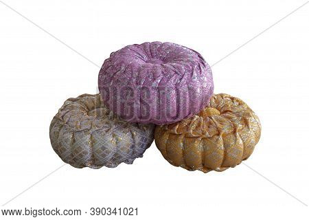 Handmade Gift Pumpkin Pillow For Auspicious Ceremony Isolated On White Background Included Clipping