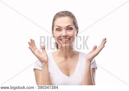 Esthetic Female Portrait. Happy Woman Smile. White Isolated Background. Adult Positive Emotion. Open