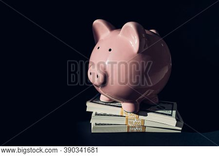 Wealth management concept. Stacks of 100 US dollar bills savings piled under piggy bank concept. Budget, investment, economy.