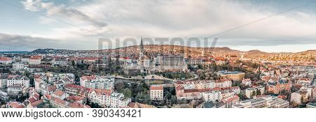 Aerial Panoramic Drone Shot Of Fishermans Bastion On Buda Hill In Budapest Winter Morning