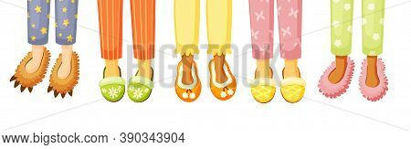 Legs In Slippers Illustration. Comfortable Stylish Shoes Cozy Home With Colorful Design Creative Sha