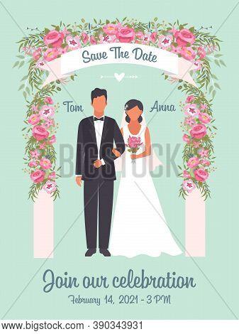 Wedding Invitation Poster. Solemn Happy Wedding Ceremony Romantic Couple Groom In Tuxedo And Bride I