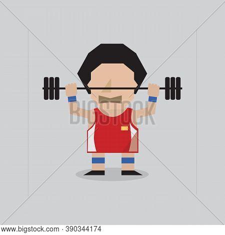 Flat Design Weight Lifter Sportman Lifting Heavyweight Barbell Vector Illustration. Eps 10
