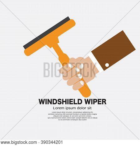 Flat Design Hand Holding Windshield Wiper For Car Vector Illustration. Eps 10