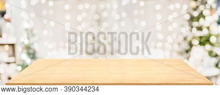 Wood Table With Christmas Decor In Living Room Blur Background With Bokeh Light,holiday Backdrop,moc