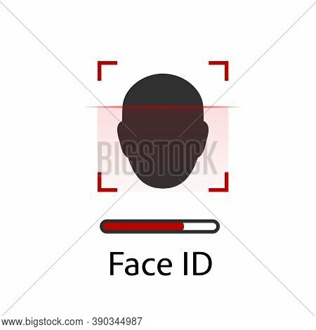 Facial Recognition Concept. Face Id, Face Recognition System. Hand Holding Smartphone With Human Hea