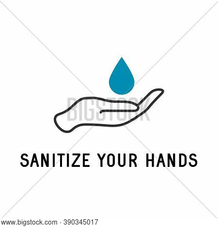 Sanitize Your Hands, Hand Sanitizer Icon. Hygiene Symbol. Stock Vector Illustration Isolated On Whit