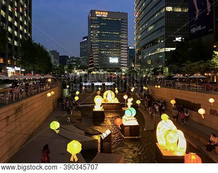 Seoul, South Korea - May 4, 2017: Night View Of Cheonggyecheon Stream With Light Decorations And Lan