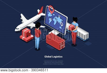 Vector Illustration Of Laptop Screen With World Map And Navigator. Global Logistics Concept 3d Isome