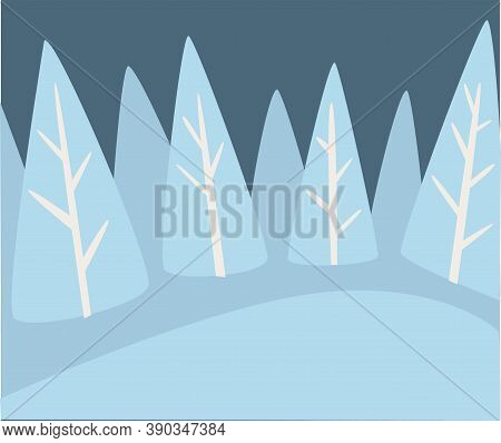 Winter Landscape Of Pine Forest With Snowy Hills