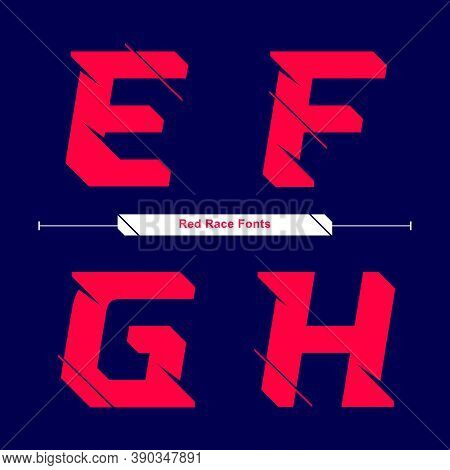 Vector Graphic Alphabet In A Set E,f,g,h, With Abstract Red Race Speed Modern Font. Typography Desig
