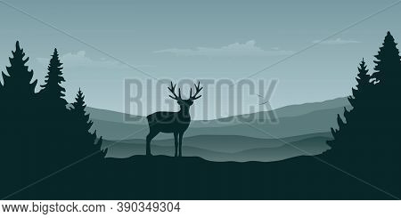Wildlife Reindeer Mountain View In The Fog And Forest Landscape Vector Illustration Eps10