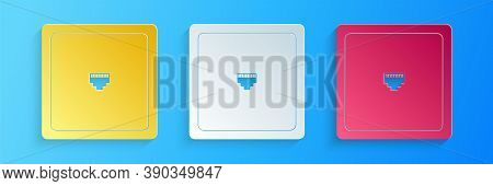 Paper Cut Ethernet Socket Sign. Network Port - Cable Socket Icon Isolated On Blue Background. Lan Po